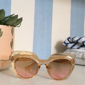 SOLD - Fun glittery sunglasses with rose lenses